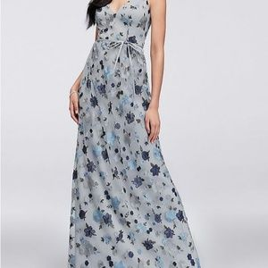 Floral Embroidered Tank Bridesmaid Dress